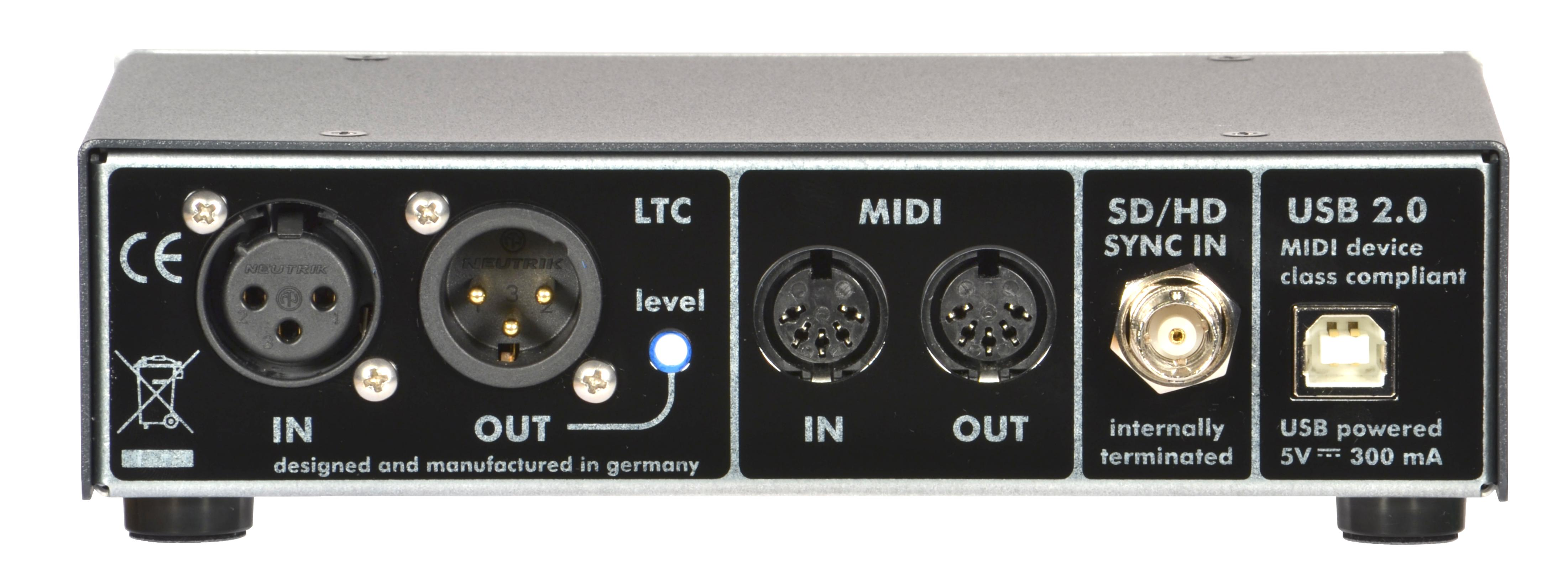 Rosendahl MIF4 - professional MIDI timecode interface (rear view)